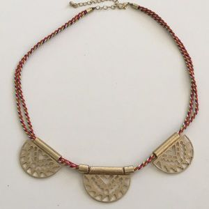 Southwestern Braided Necklace with Gold Medallions